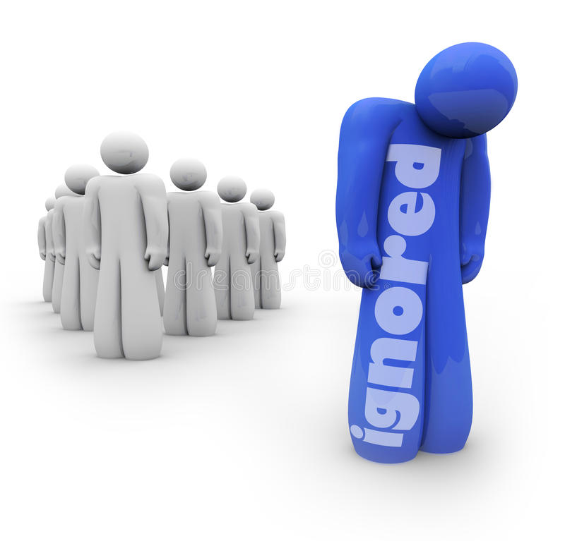 Free Ignored Person Blue Apart From Group Excluded Forgotten Royalty Free Stock Images - 44862989