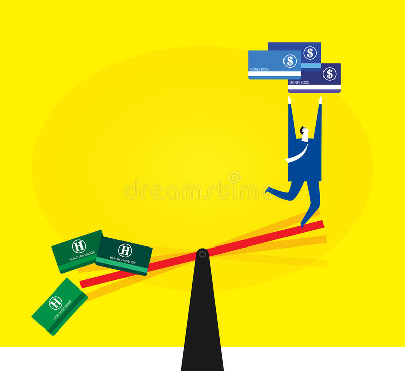 Ignoring health for money. Most business people always ignore health for money vector illustration