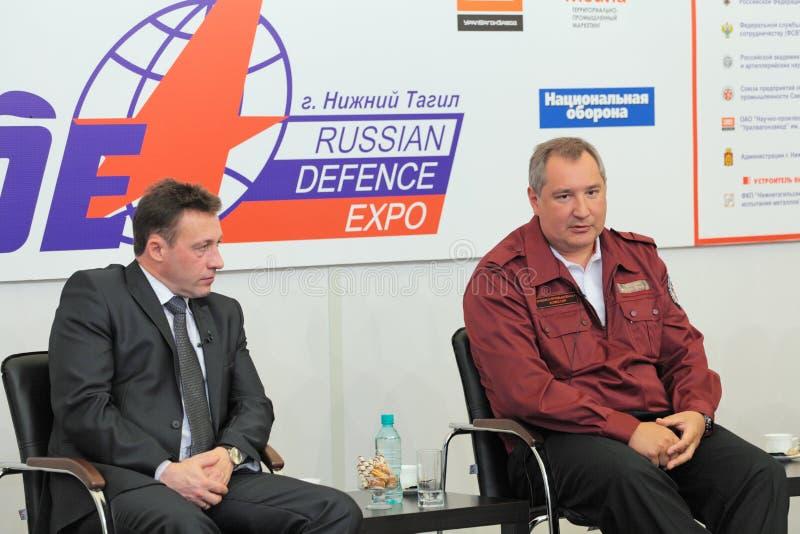 Igor Kholmanskikh en Dmitry Rogozin royalty-vrije stock fotografie