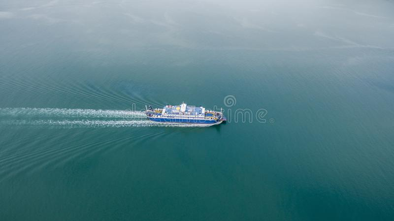 Aerial drone image of a ferry traveling from Corfu to Igoumenitsa Greece. royalty free stock images