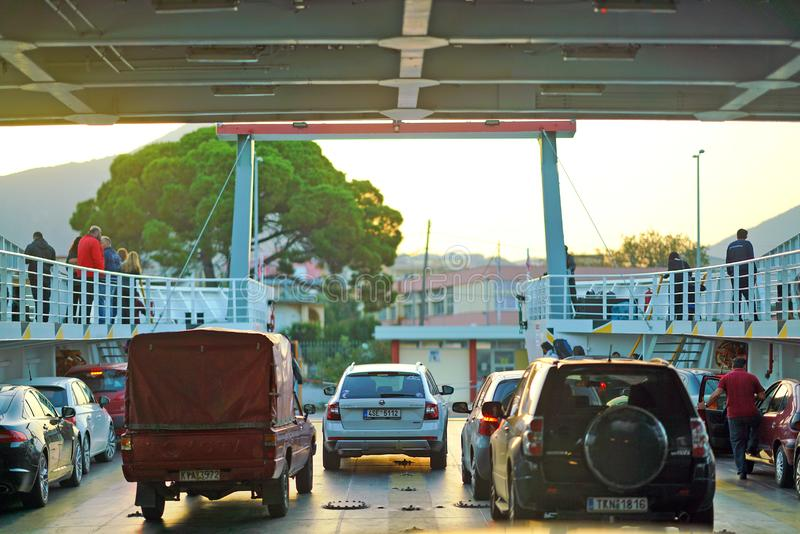 Igoumenitsa, Greece, October 20 2018, Arrival of the ferry from Corfu with cars ready for landing stock photo