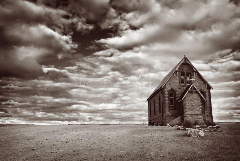Igreja abandonada do deserto fotografia de stock royalty free