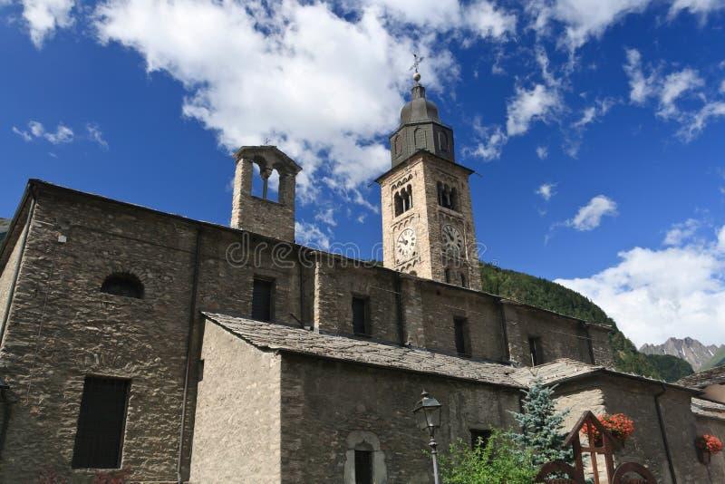 Igreja antiga em Morgex, Italy imagens de stock royalty free