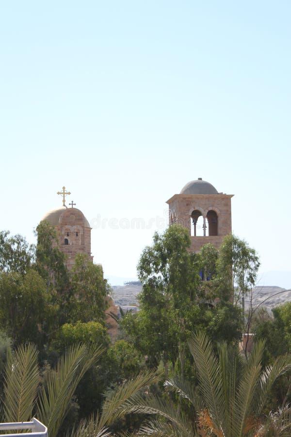 Igreja antiga no local batismal do EL Yahud de Qasr, Israel fotos de stock