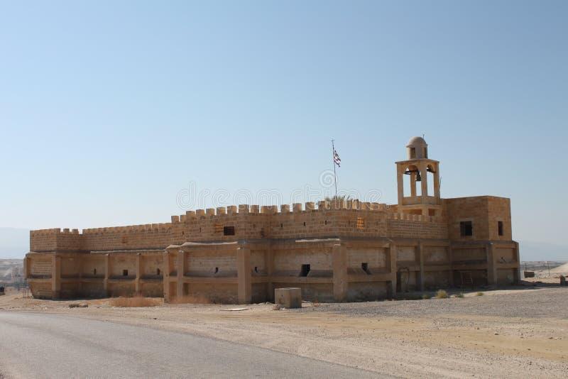 Igreja antiga no local batismal do EL Yahud de Qasr, Israel foto de stock royalty free
