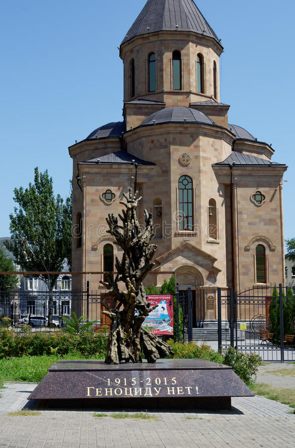 Igreja apostólica armênia Surb Arutyun Monumento às vítimas do genocídio armênio Rostov-On-Don, Rússia 2 de agosto, fotos de stock royalty free
