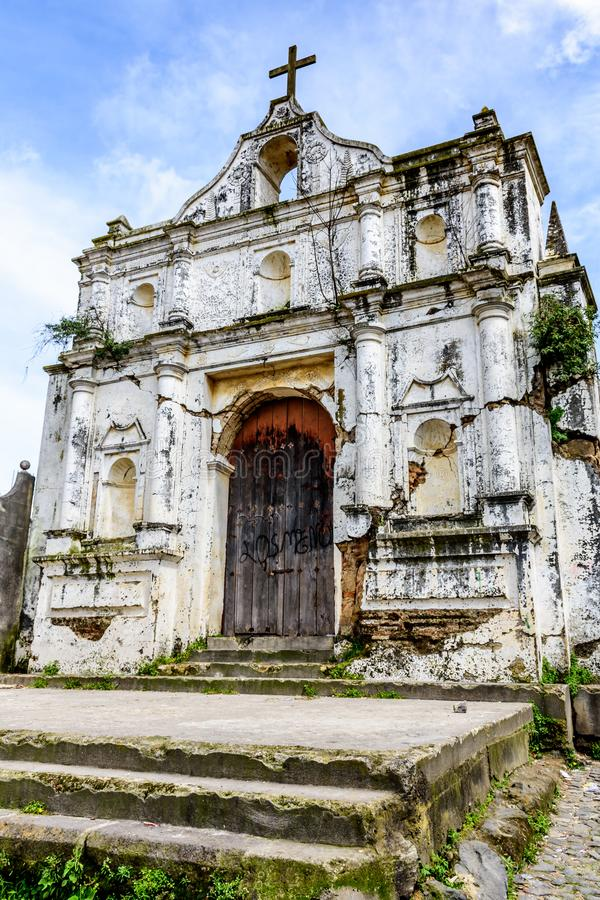 Igreja arruinada, Santa Maria de Jesus perto de Antígua, Guatemala imagens de stock