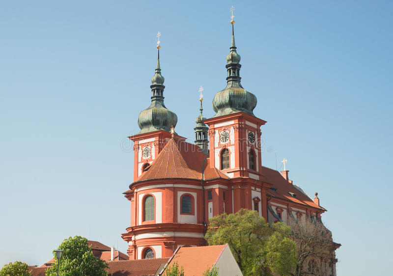 Igreja barroco St Mary, Stara Boleslav, república checa Svata Marie foto de stock royalty free