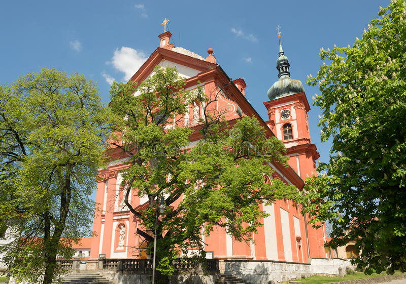 Igreja barroco St Mary, Stara Boleslav, república checa Svata Marie fotos de stock royalty free