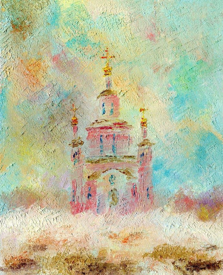 Igreja bonita em um dia de inverno nevado ilustração stock