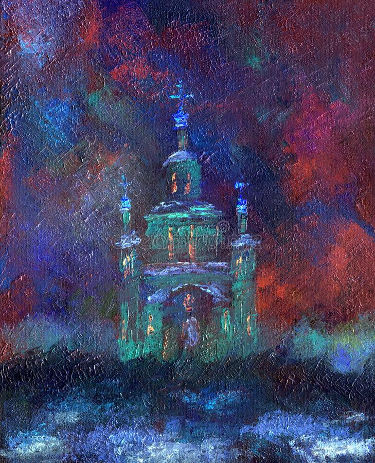 Igreja bonita em uma noite nevado do inverno ilustração royalty free