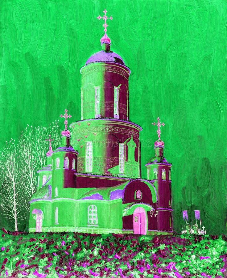Igreja bonita, iluminada pelo sol em um dia de inverno gelado ilustração stock