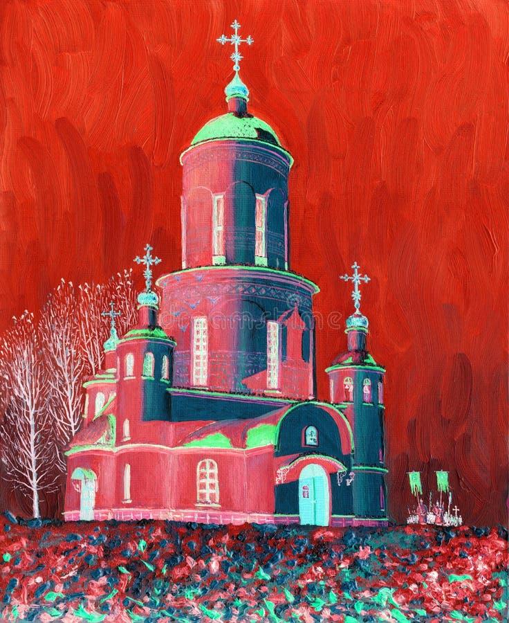 Igreja bonita, iluminada pelo sol em uma noite gelado do inverno ilustração stock