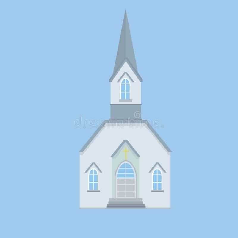 Igreja Católica azul com um pináculo e uma cruz ilustração do vetor