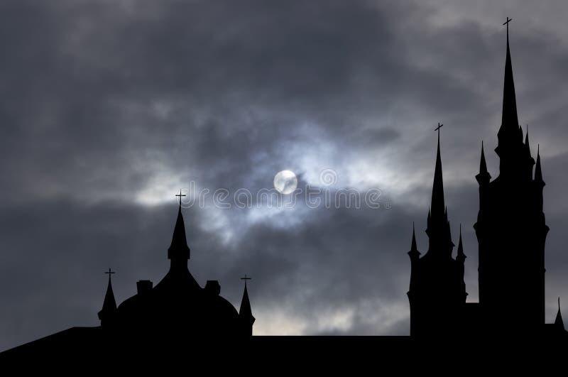 Igreja católica com trajeto de grampeamento ilustração do vetor
