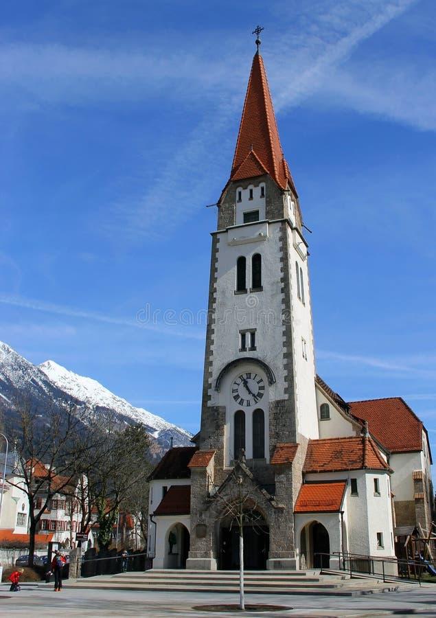 Igreja Católica em Innsbruck, Áustria fotografia de stock