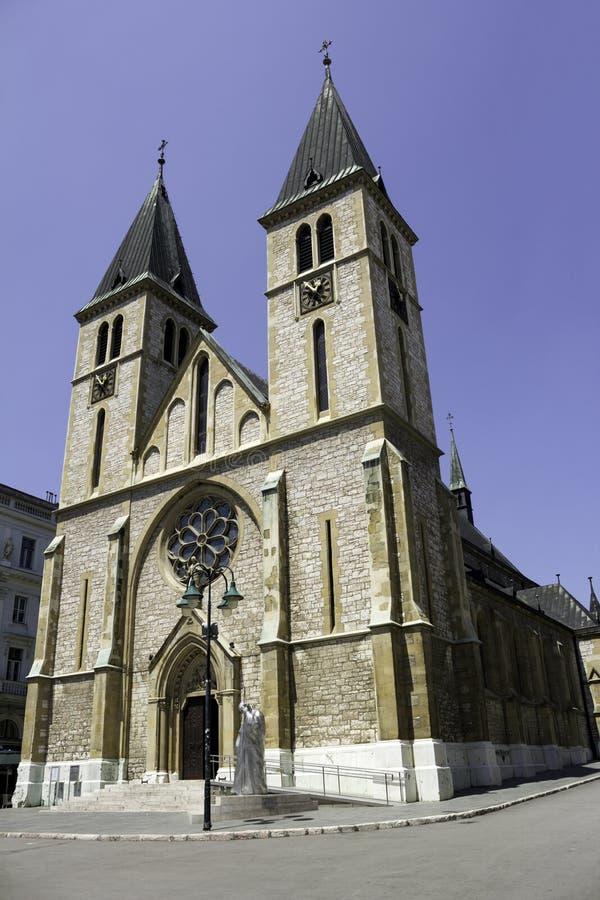 Igreja Católica em Sarajevo fotos de stock royalty free