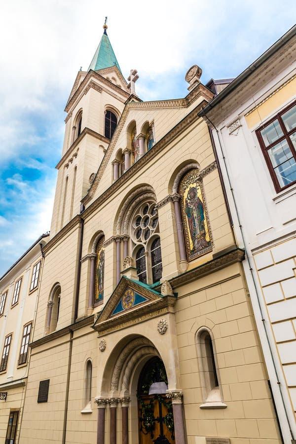 Igreja Católica grega - Zagreb, Croácia fotos de stock royalty free