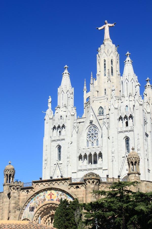 Igreja católica na montanha de Tibidabo fotos de stock royalty free