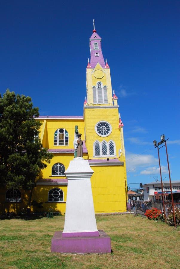 Igreja Católica neogótica da ilha de San Francisco - de Chiloé - o Chile imagem de stock