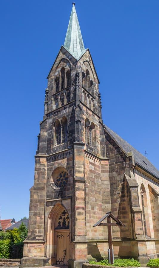 Igreja Católica no centro histórico de Schuttorf fotos de stock royalty free