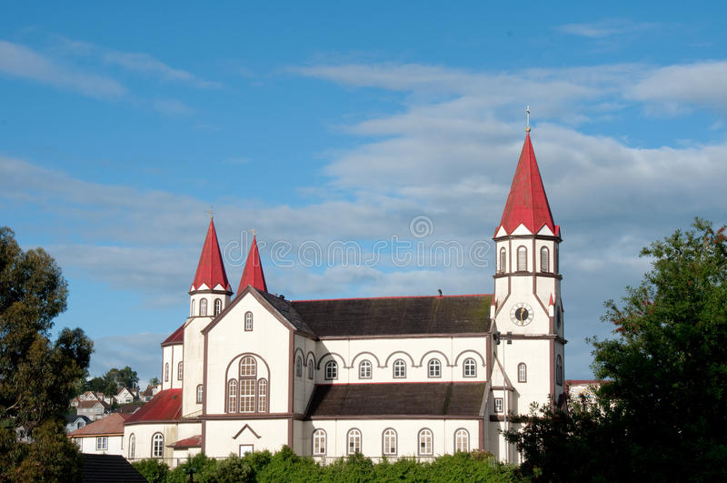 Igreja catolic de Puerto Varas foto de stock royalty free
