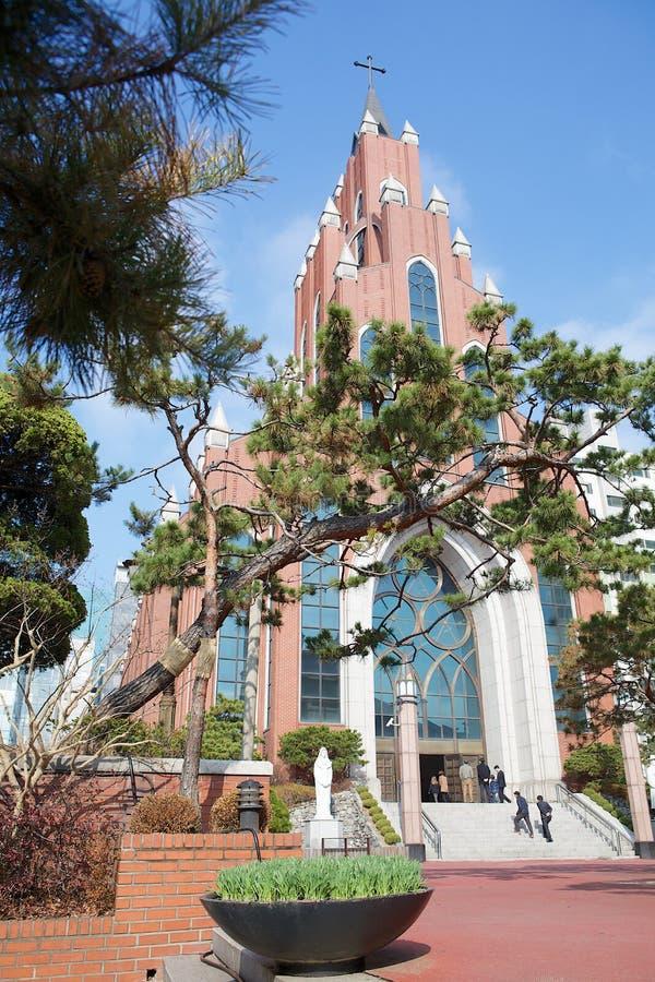 Igreja catolic de Seoul em Gangnam fotografia de stock royalty free
