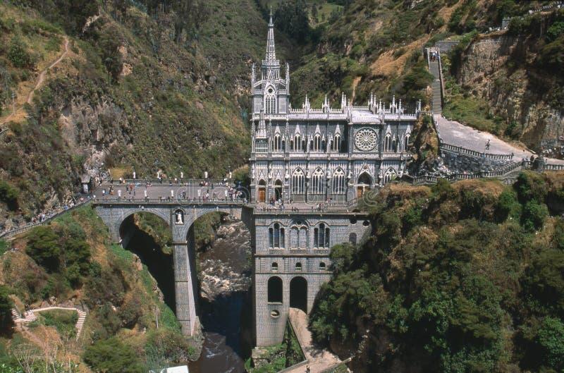 Igreja Colômbia de Las Lajas fotos de stock royalty free