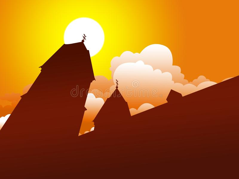Igreja com cruz os dois torres, dois na parte superior e sol com as nuvens no céu Ilustração da silhueta ilustração stock