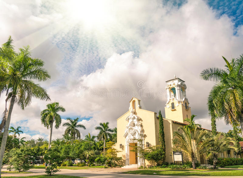 Igreja Congregacional de Coral Gables em Miami foto de stock