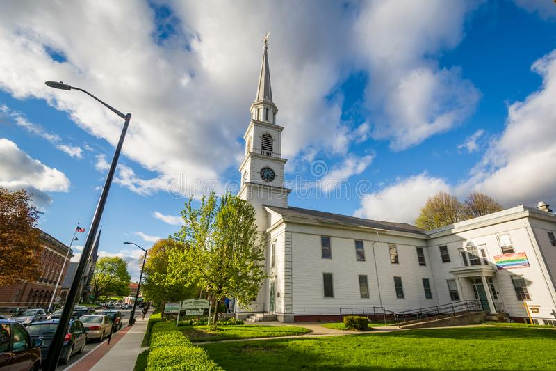 Igreja Congregacional do centro em Brattleboro, Vermont imagens de stock