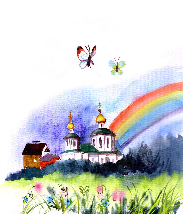 Download Igreja cristã ilustração stock. Ilustração de chuvoso - 12809335