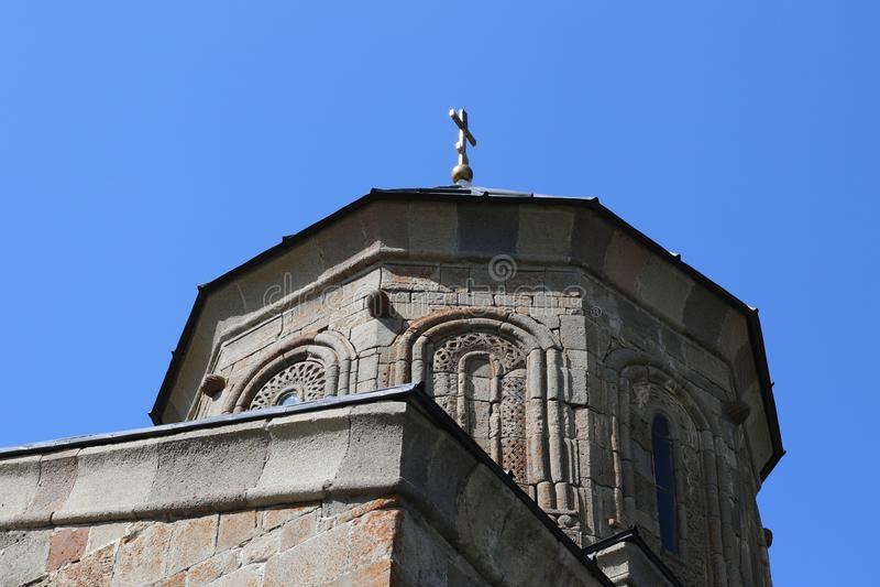 Igreja cristã velha de Stepantsminda em Geórgia foto de stock
