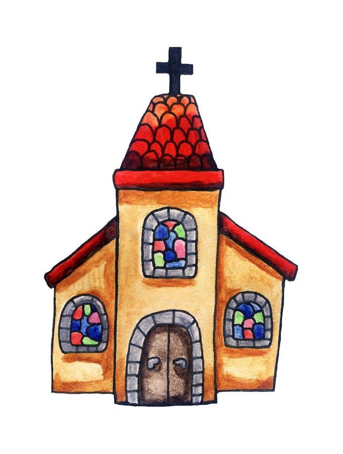 Igreja da aquarela com Red Roof imagens de stock