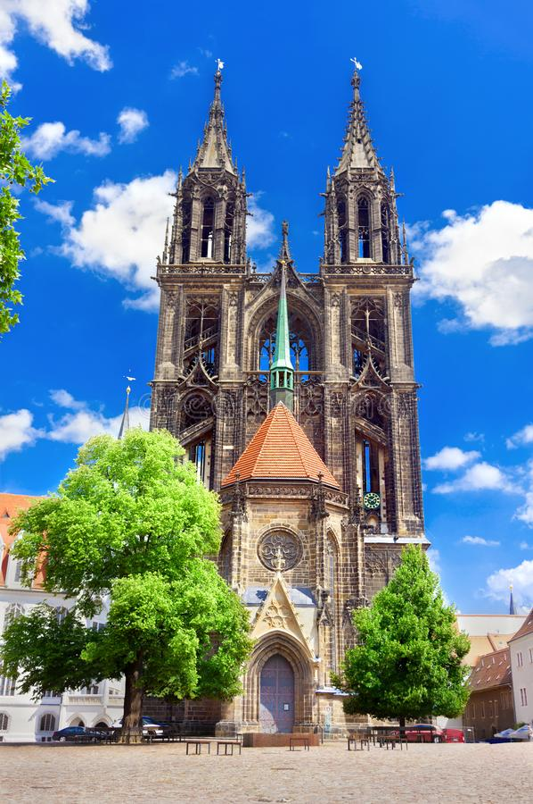 Igreja da catedral de Meissen fotos de stock royalty free