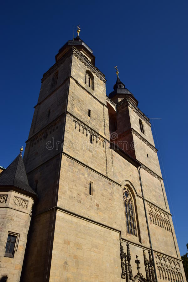 Igreja da cidade da trindade santamente (STADTKIRCHE HEILIG DREIFALTIGKEIT) em Bayreuth, Alemanha fotos de stock royalty free
