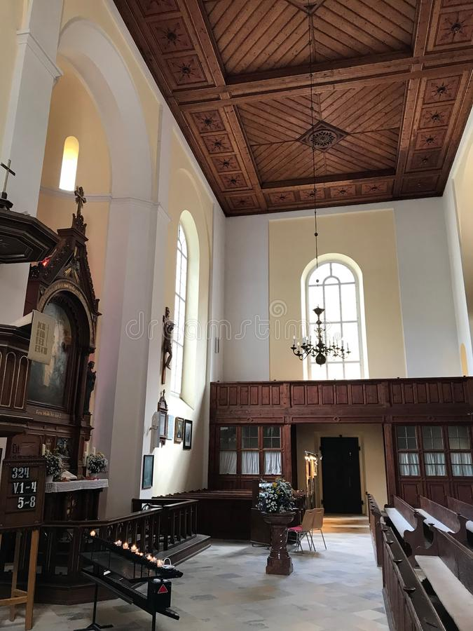 Igreja da cidade de Hallstatt foto de stock royalty free