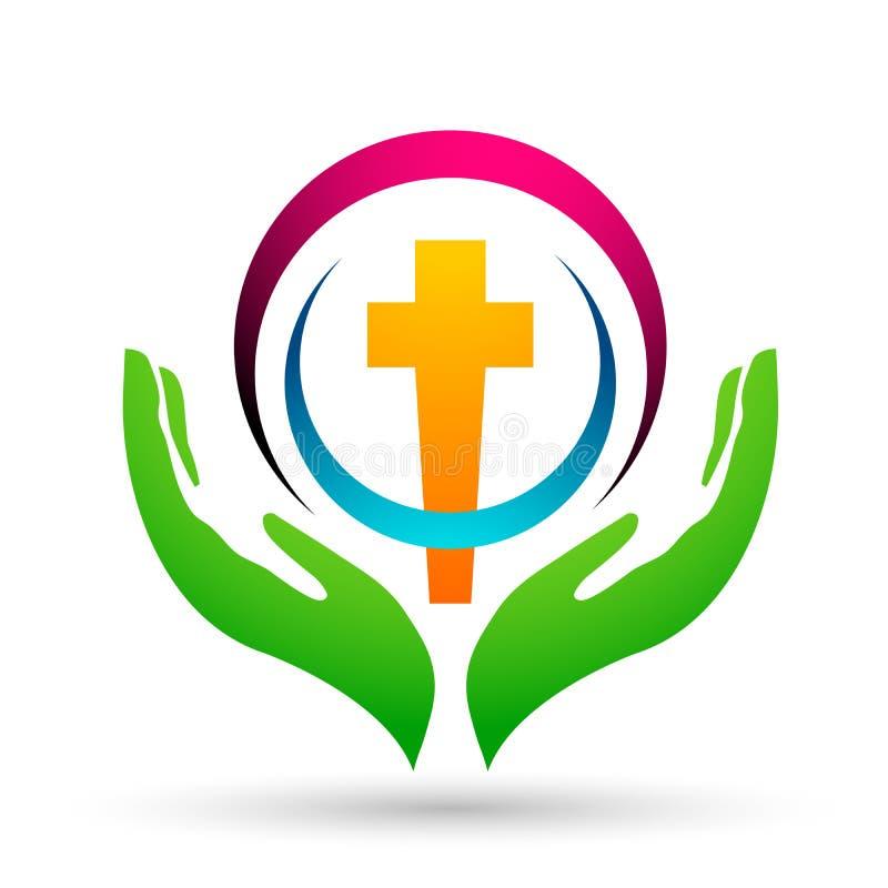 A igreja da cidade salvar o ícone do projeto do logotipo do amor do cuidado da união dos povos no fundo branco ilustração royalty free