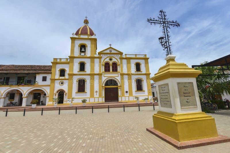 Igreja da concepção imaculada em Mompox, Colômbia fotos de stock royalty free