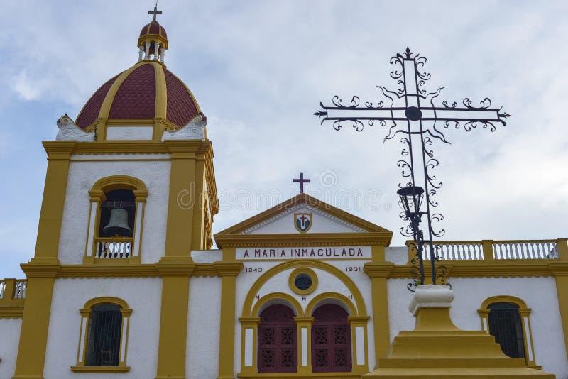 Igreja da concepção imaculada em Mompox, Colômbia imagens de stock