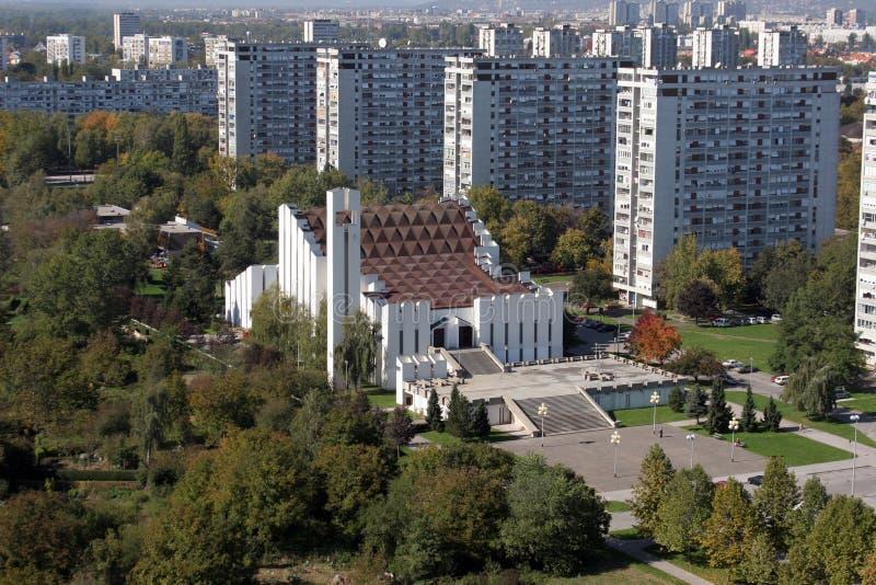 Igreja da cruz santamente em Zagreb imagem de stock