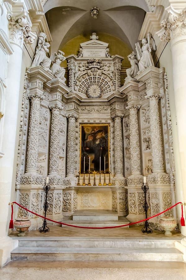 Igreja da cruz santamente, interiores Lecce, Itália foto de stock