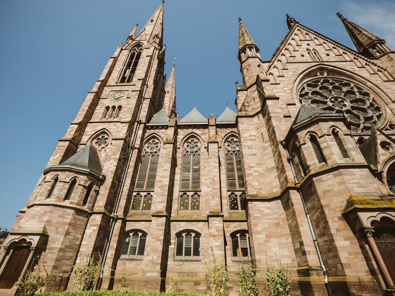 Igreja da igreja do ` s de St Paul em Strasbourg, França fotos de stock royalty free