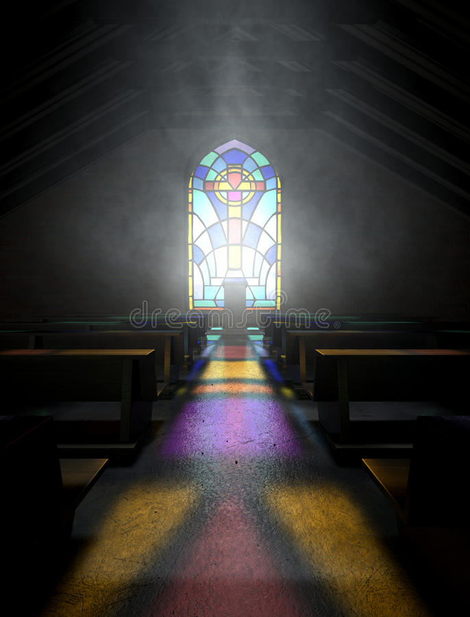 Igreja da janela de vitral ilustração stock