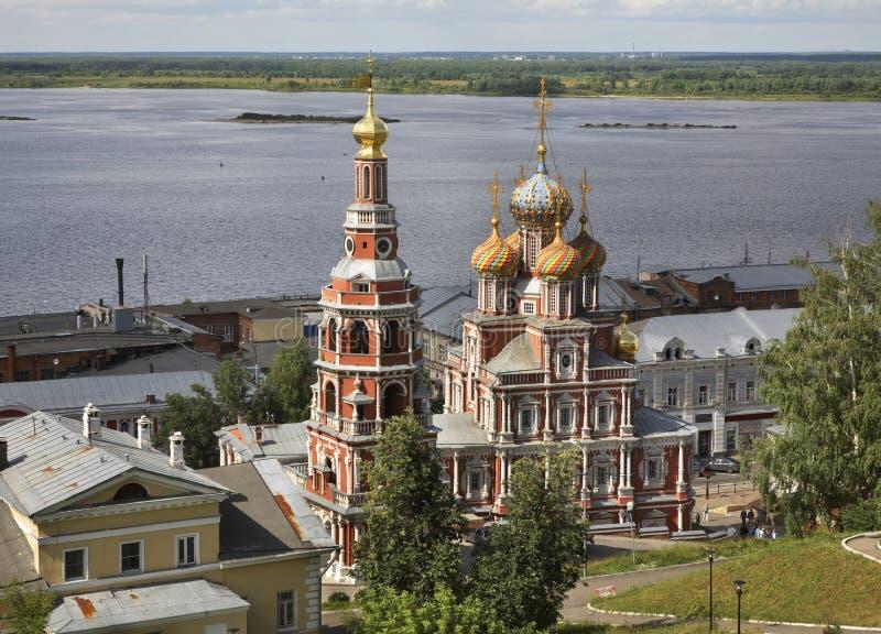 Igreja da natividade de nossa senhora (igreja de Stroganov) em Nizhny Novgorod Rússia imagens de stock