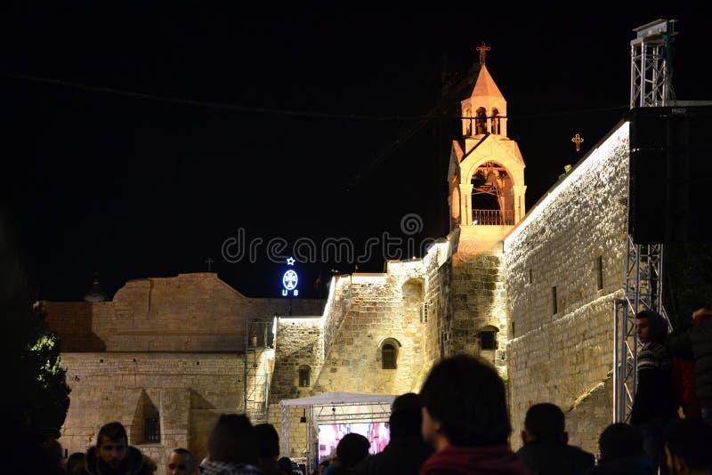 Igreja da natividade na Noite de Natal em Bethlehem, Cisjordânia, Palestina, Israel imagens de stock royalty free
