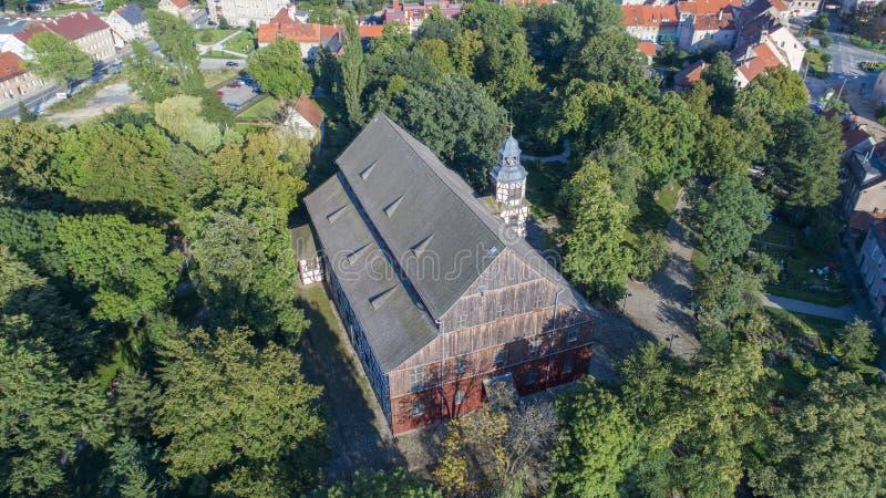 Igreja da paz em Jawor, Polônia, 08 2017, vista aérea imagens de stock royalty free