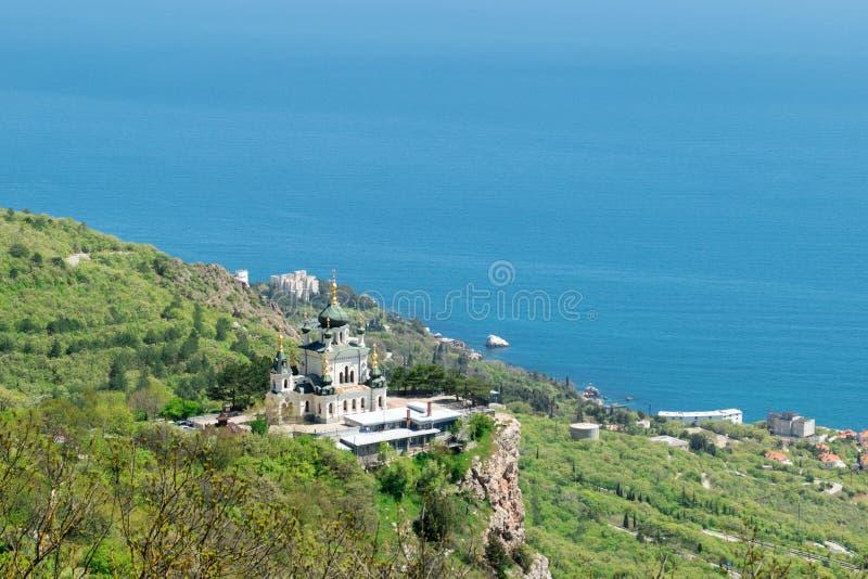A igreja da ressurreição de Christs em rochas em Crimeia fotografia de stock