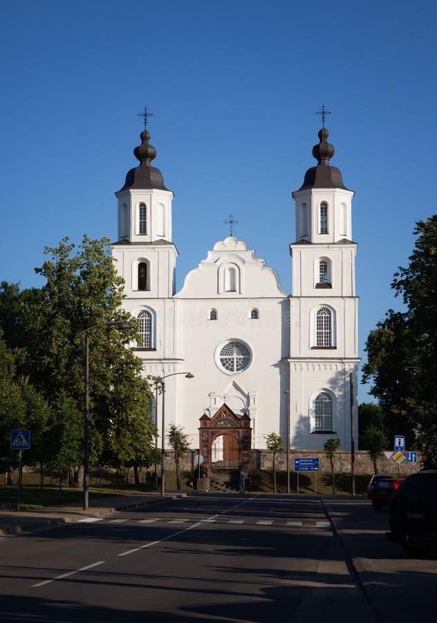 Igreja da suposição do ` s da Virgem Maria do St, Zarasai fotos de stock