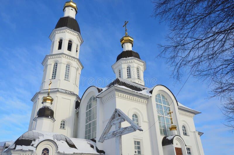 Igreja da suposição da mãe da igreja de Uspenskaya do deus em Arkhangelsk na rua de Loginov, Rússia fotografia de stock royalty free